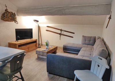 Le coin séjour avec grand canapé couchage et téléviion