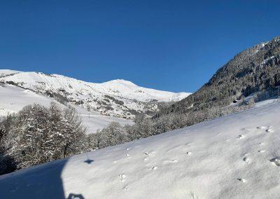 Payasage de neige depuis le gite sur vallée d'Hauteluce